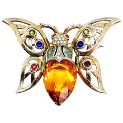 A large gilded sterling silver and coloured paste 'butterfly' brooch, Reja 1940s