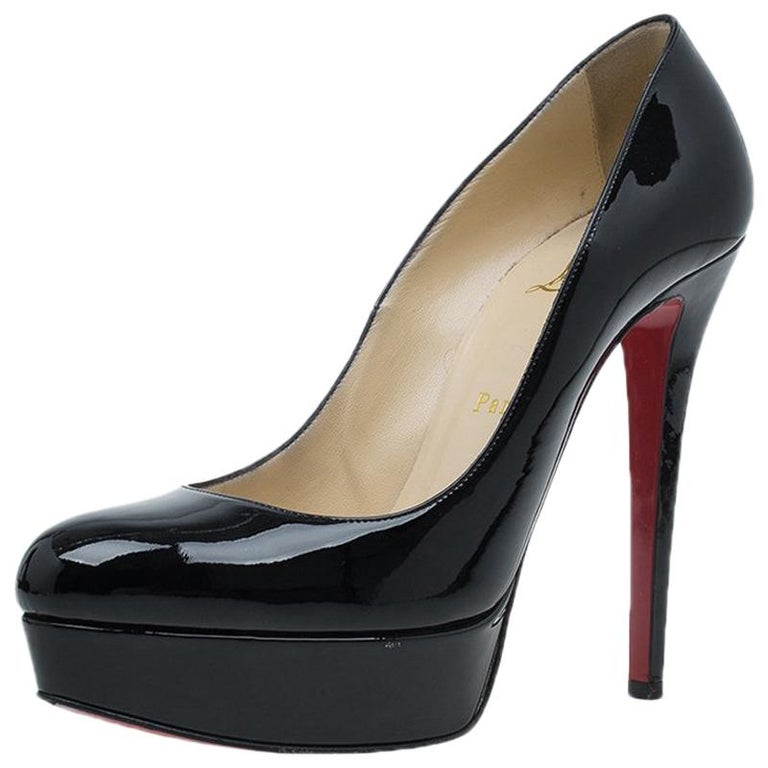 3db3615f0 Christian Louboutin Black Patent Bianca Platform Pumps Size 38.5 For Sale