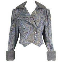Bellville Sassoon Vintage Wool Paisley Jacket with Real Shearling Cuffs, 1970s