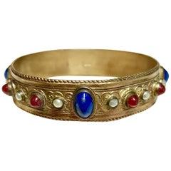 Circa 1920s Austrian Lapis-Blue Glass Cabocon Jeweled Bangle