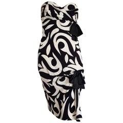 CHANEL Haute Couture Strapless Black, White Lilies design, Silk - Unworn, New