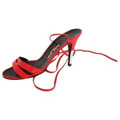 Dal Co' x Valentino Red and White Open Leather Heels with Laces - Size 39 1/2
