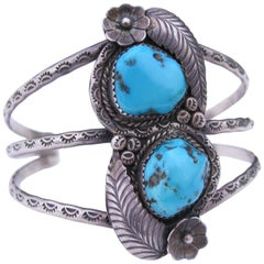 Early Unique Vintage Navajo Sterling Silver Turquoise Cuff Bracelet