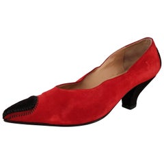 Maud Frizon Red Velvet Black Pointed Heels - Size 39 1/2 (EU)