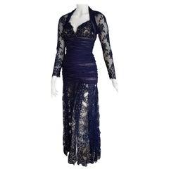 Isabelle ALLARD Paris Couture Skirt Lace Blue Silk Cotton Dress - Unworn, New