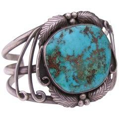 Vintage Signed Navajo Sterling Silver Turquoise Cuff Bracelet