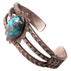 Navajo Sterling Silver Turquoise Cuff Bracelet Early Unique Circa 1940-50s