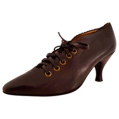 Maud Frizon Brown Leather Laced Wooden Base Heels - Size 40