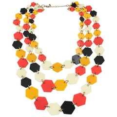 Artisan Designer Lucite Multi-Strand Necklace Orange Black Cream Losange