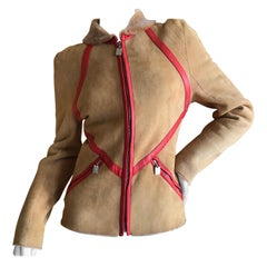 Givenchy Haute Couture A/W 1998 by Alexander McQueen Red Trim Shearling Jacket