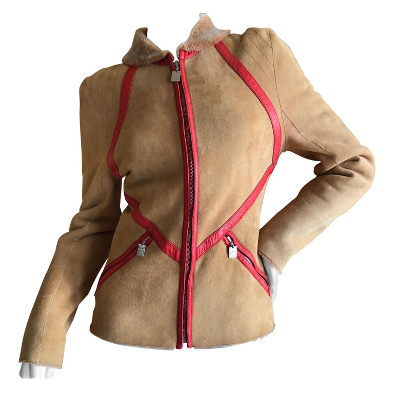 Givenchy Haute Couture A/W 1998 by Alexander McQueen Red Trim Shearling Jacket For Sale
