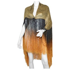 1920's Lame Shawl with Ombre Fringing