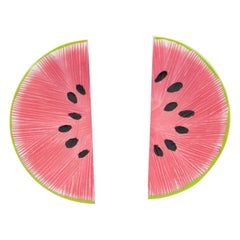 Watermelon Slice Pink and Green Lucite Pierced Earrings