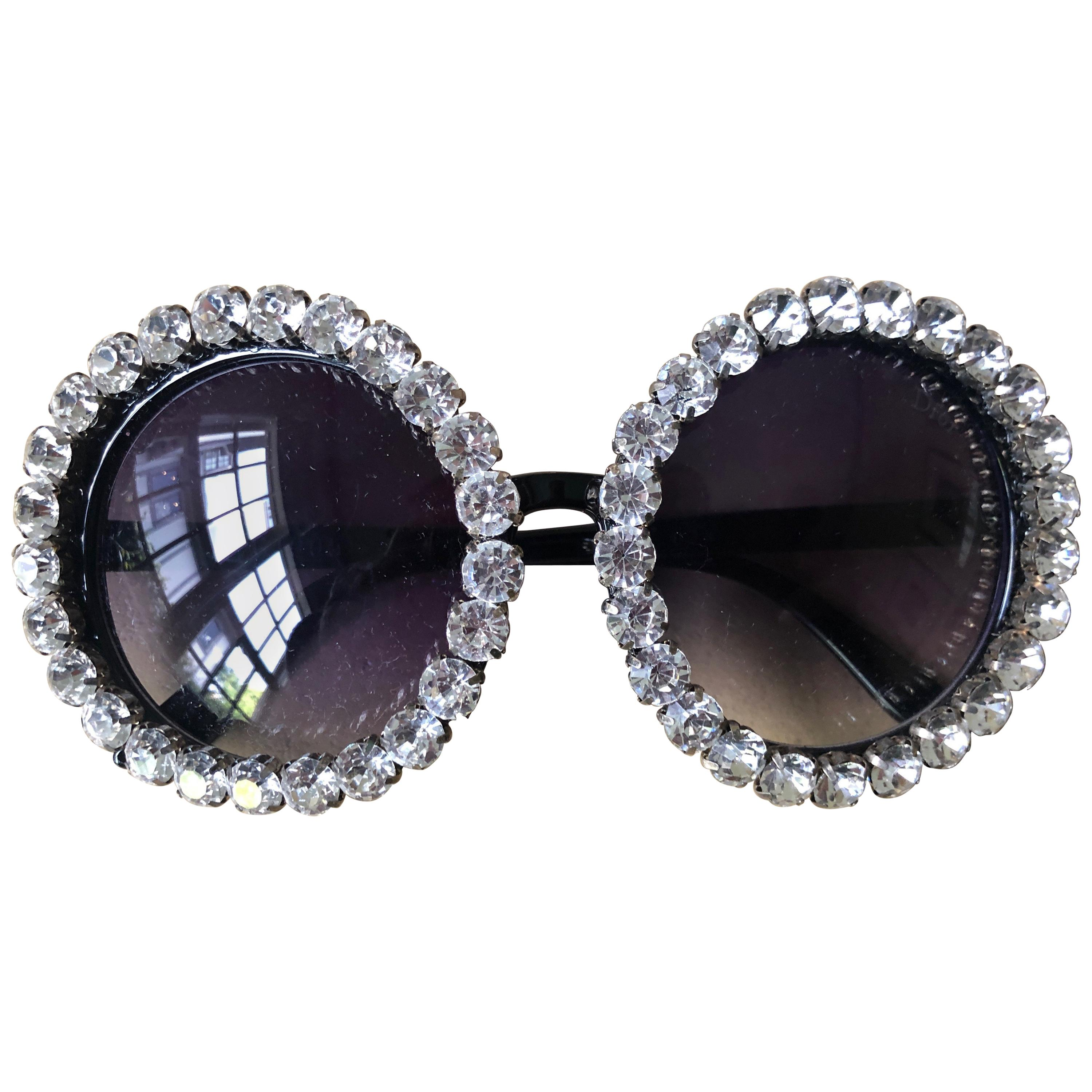 3311fad6f7e8 Christian Dior Vintage Oversize Swarovski Crystal Round Sunglasses in Case  For Sale at 1stdibs