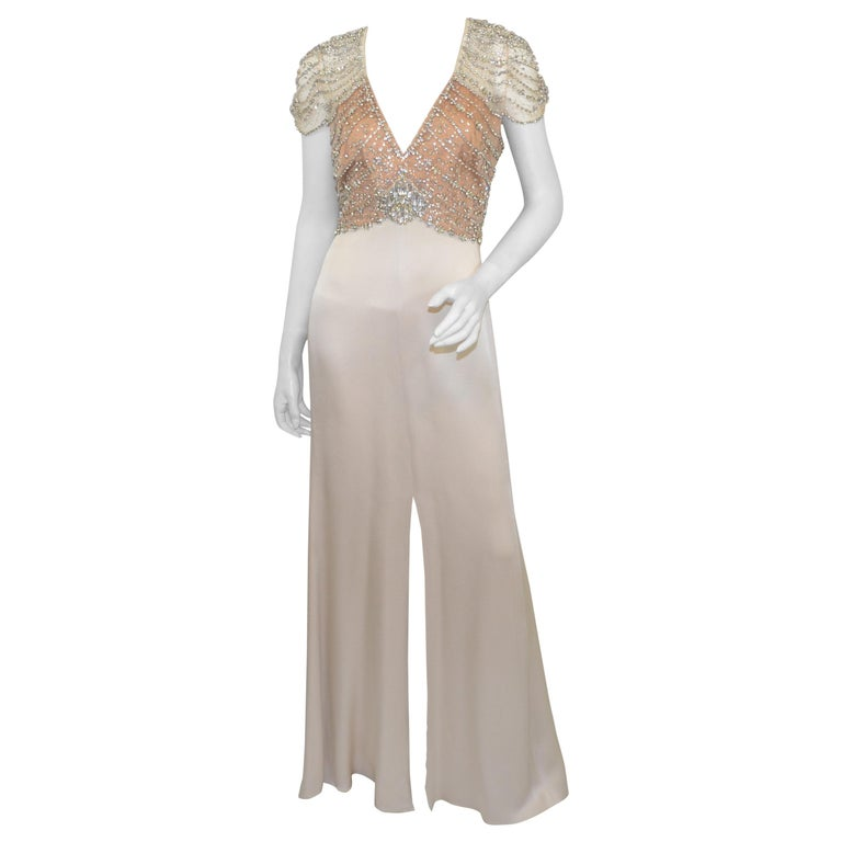 Jenny Packham Champagne Embellished Gown For Sale at 1stdibs