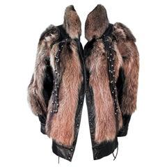 JACQUES SAINT LAURENT Raccoon Fur Jacket with Detachable Tassels Size 38
