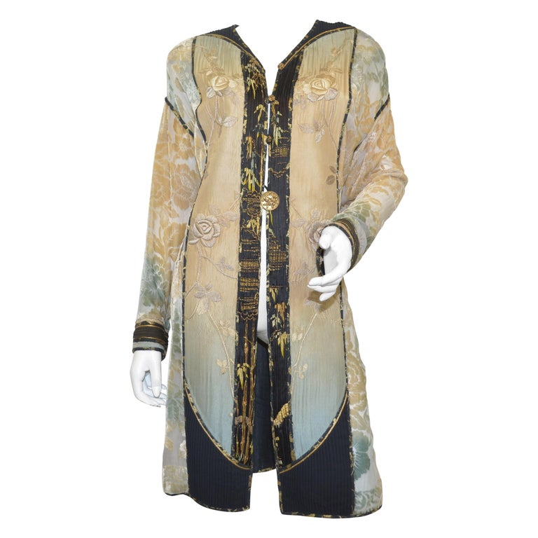 Burnout Velvet Duster with Rose Embroidery Detail For Sale