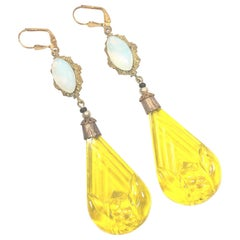 Art Deco Czech Opal & Citrine Carved Glass Dangle Earrings 1920s