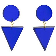 1980s Geometric Lucite Clip-on Earrings Intense Royal Blue