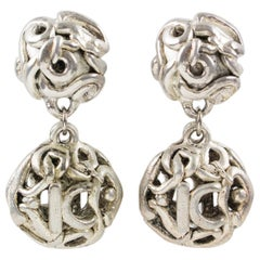 Kalinger Paris Signed Clip Earrings Dangle Silver Plate Resin Ball with K Logo