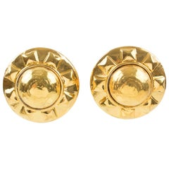 Kalinger Paris Clip on Earrings Gilt Metal Resin Large Sun