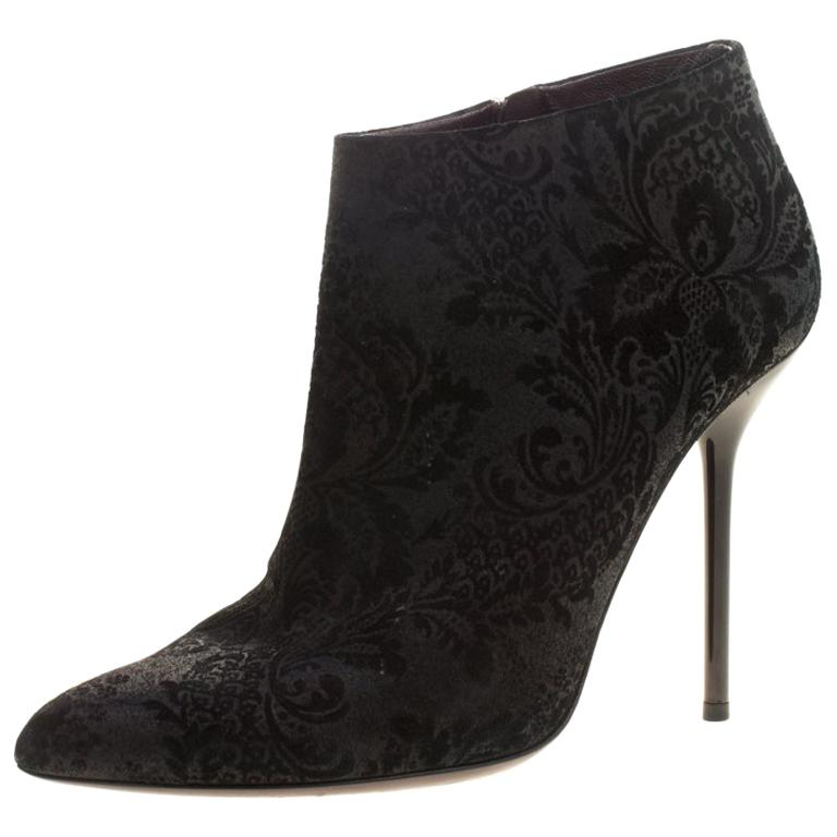 6c4eedbee4571 Gucci Black Brocade Leather Ankle Boots Size 38