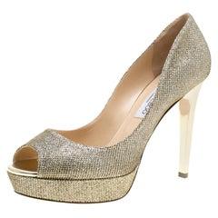 Jimmy Choo Metallic Gold Lamè Fabric Dahlia Peep Toe Platform Pumps Size 41