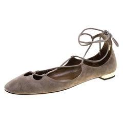 Aquazzura Beige Suede Dancer Lace Up Ballet Flats Size 40