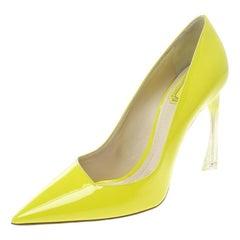 Dior Limettengrüne Leder Songe Pumps mit Spitze Größe 39