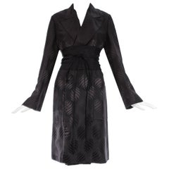 Tom Ford Gucci black silk evening robe with matching Obi belt, A/W 2001
