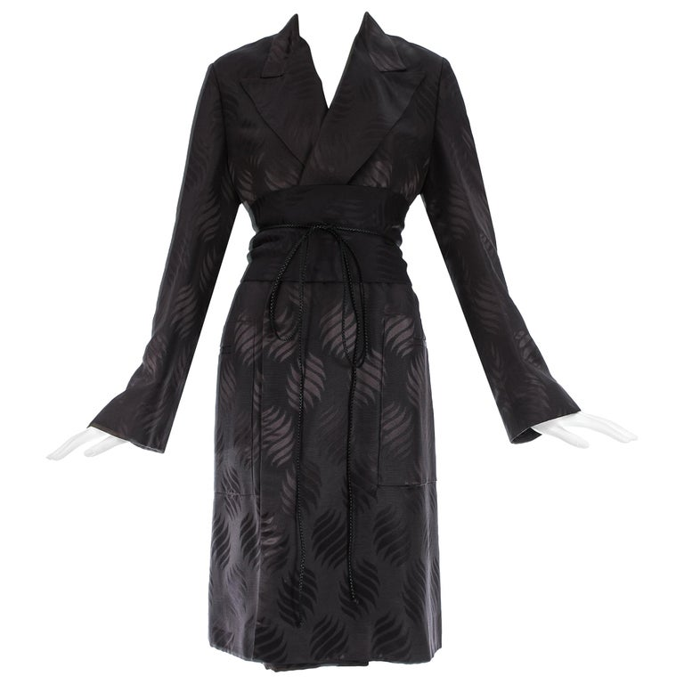Tom Ford Gucci black silk evening robe with matching Obi belt, A/W 2001 For Sale