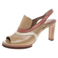 Chloe Multicolor Leather Slingback Mules Sandals Size 40