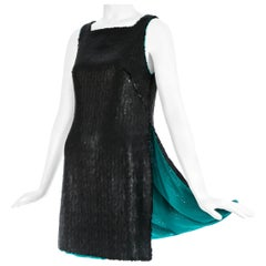 Gianni Versace black sequin mini dress / tunic with high side slits, A/W 1999