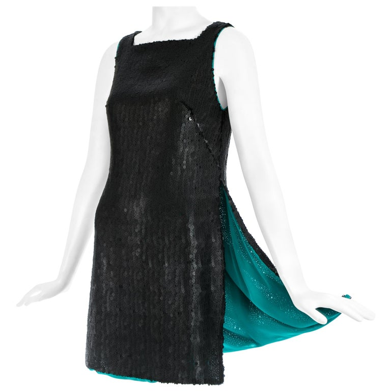 Gianni Versace black sequin mini dress / tunic with high side slits, A/W 1999 For Sale