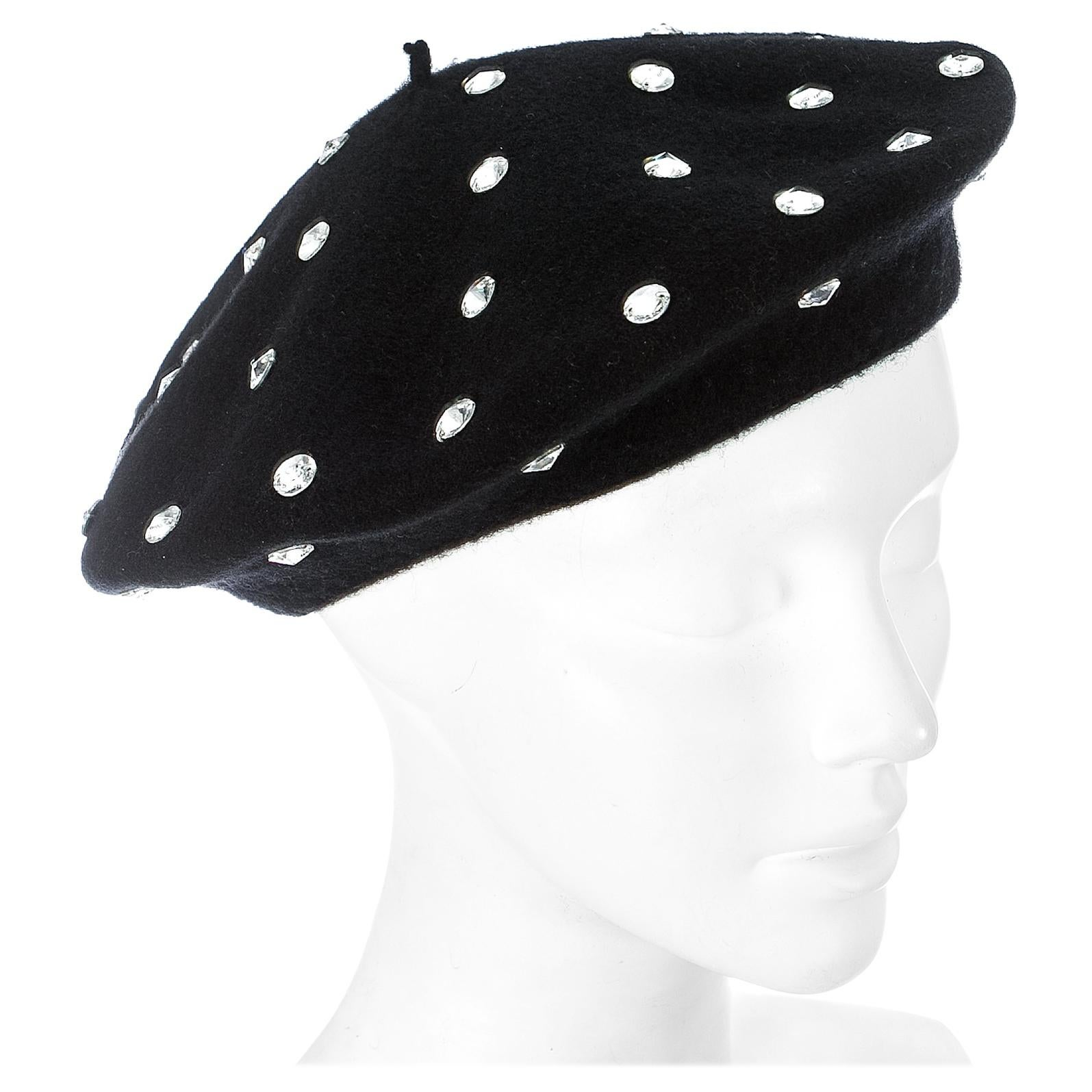 Dolce & Gabbana black wool beret with crystals, A/W 2000