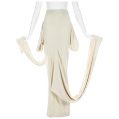 John Galliano cream ribbed cotton jersey 'The Ludic Game' skirt, A/W 1985