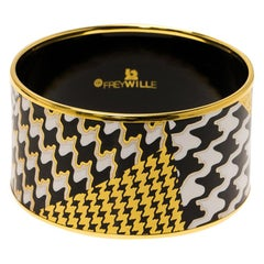 Frey Wille White, Black and Gold Tone Enamel Print Gold Plated Wide Bangle 21 cm