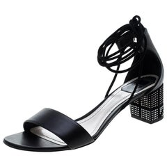 Dior Black Leather Rainbow Stellar Block Heel Lace Up Sandals Size 40.5