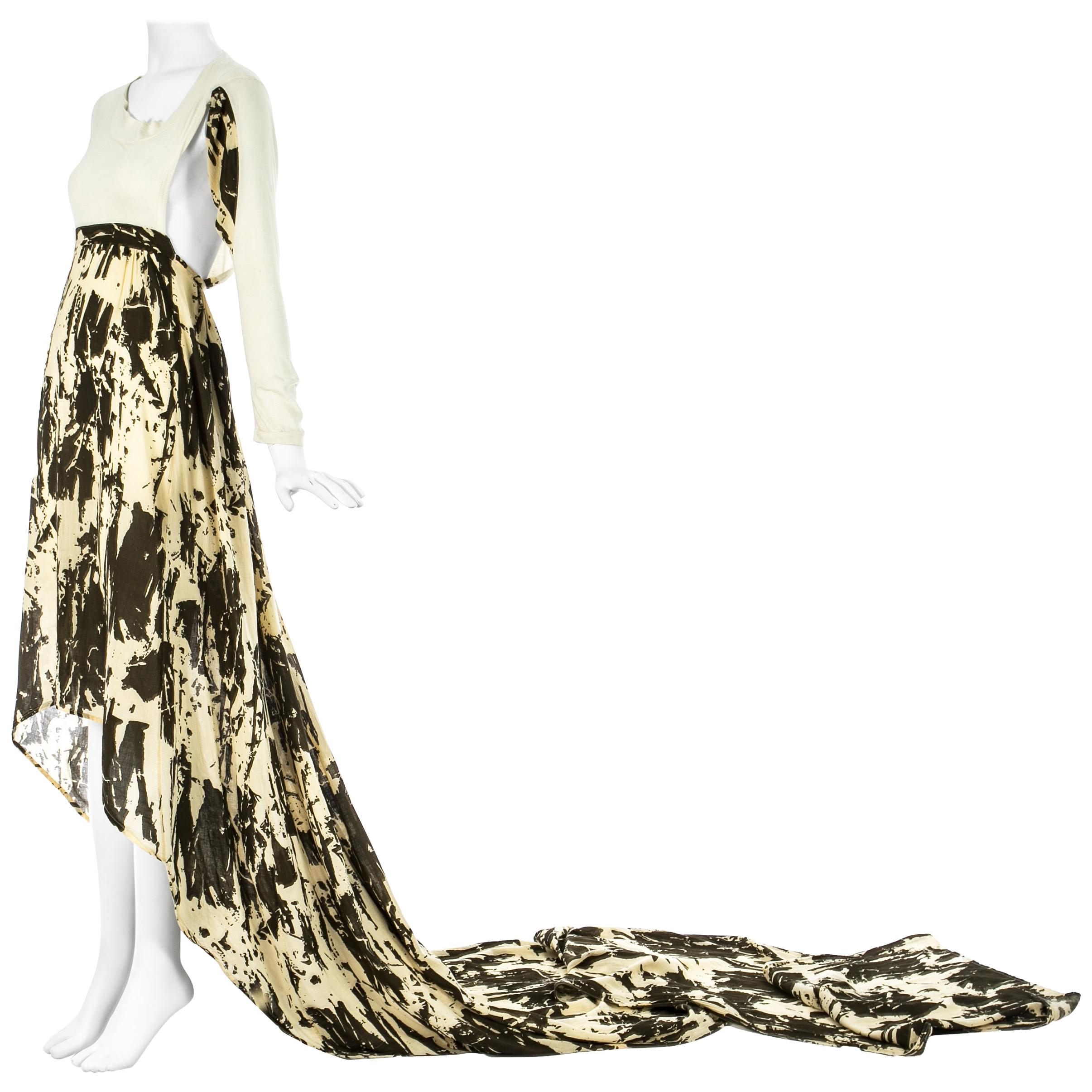 Worlds End cream and brown acid wash toga dress with extra long train, S/S 1982