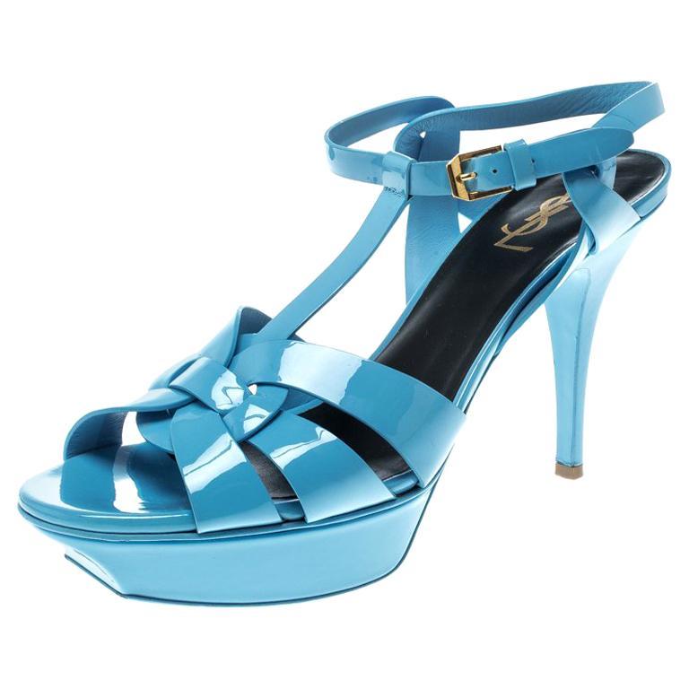 55493504ba3 Saint Laurent Paris Blue Patent Leather Tribute Platform Sandals Size 41  For Sale at 1stdibs