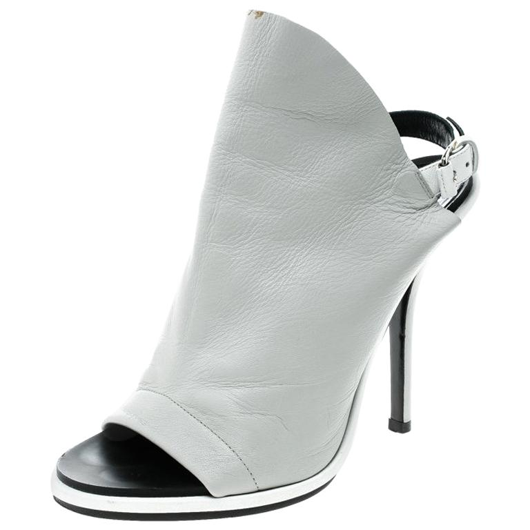 0fc876a7c Balenciaga Grey Leather Glove Peep Toe Sandals Size 37 For Sale at 1stdibs