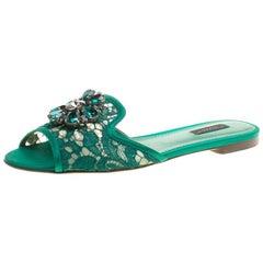 Dolce und Gabbana grüne Spitze Sofia Kristall verschönerte Gleitschuhe Größe 38,5