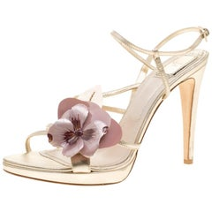 Dior Metallic Light Gold Leather Flower Embellished Sandals Size 38.5