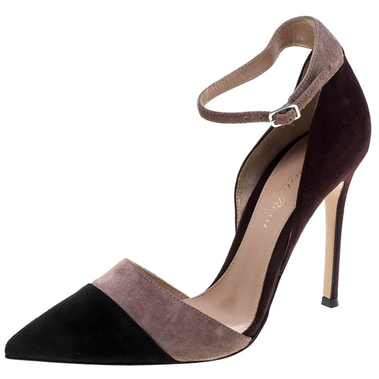 5885e7c05 Gianvito Rossi Tricolor Suede Ankle Strap D'orsay Pointed Toe Pumps Size  36.5 For Sale