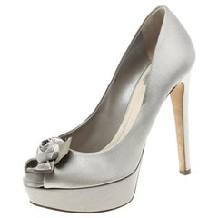 Dior Grey Satin Rose Detail Peep Toe Platform Pumps Size 38