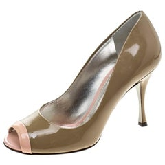 Dolce & Gabbana Two Tone Leather Peep Toe Pumps Size 38