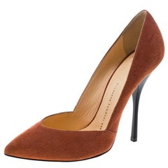 Giuseppe Zanotti Salmon Pink Suede Pointed Toe Pumps Size 37.5