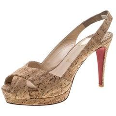 Christian Louboutin Beige Cork Soso Slingback Sandals Size 37