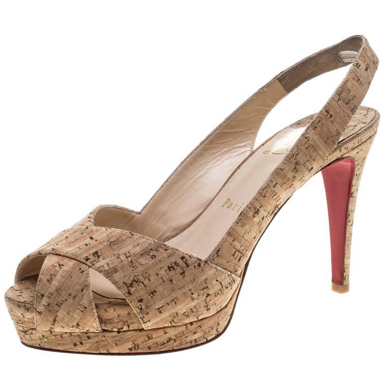 Christian Louboutin Beige Cork Soso Slingback Sandals Size 37 For Sale