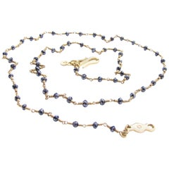 18K Gold Black Faceted Diamond Bead Necklace by Christopher Phelan Fine Jewelry